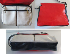 60's mod colorblock red white blue bag details