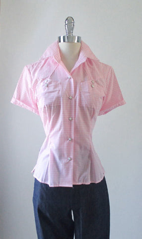 Pink Gingham Original 50's Style Rockmount Ranchwear Western Shirt Top Blouse L