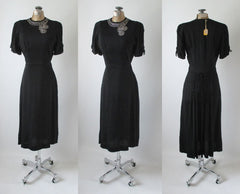 Vintage 40's Black Rayon Rhinestone Bustle Back Evening Party Dress NOS S - Bombshell Bettys Vintage