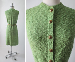 Vintage 60's St John Green Sport Knit Tunic Shift Sweater Day Dress S - Bombshell Bettys Vintage