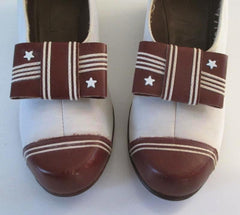 Vintage 30's 40's Stars & Stripes Victory Wedge Heels Shoes 7 - Bombshell Bettys Vintage