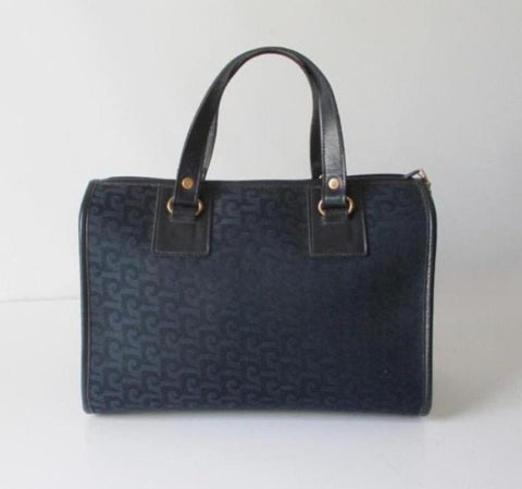 Vintage Pierre Cardin Navy Logo Boston Canvas Handbag Bag
