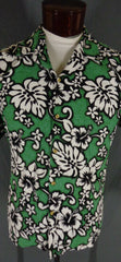 Vintage Green RJC Cotton Bark Cloth Classic Hibiscus Print Hawaiian Shirt - XL detail front