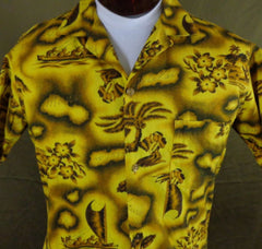 Rare Vintage Prince Kuhio Yellow Hibiscus Hula Girl Tiki Hawaiian Shirt - Medium - Bombshell Bettys Vintage