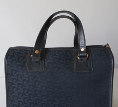 Vintage Pierre Cardin Navy Logo Boston Canvas Handbag Bag - Bombshell Bettys Vintage