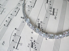 Vintage Emerald Cut Rhinestone Choker Necklace - Bombshell Bettys Vintage