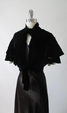 Vintage 30's 40's Black Velvet White Silk Evening Bed Jacket S / M