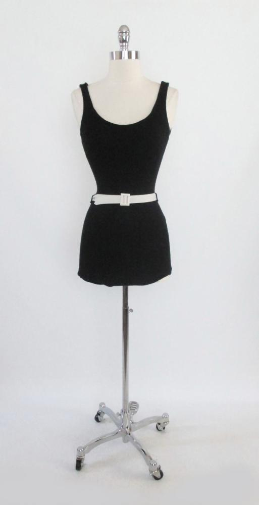 Vintage 30's 40's Black Wool Belted Catalina One Piece Swimsuit XS S - Bombshell Bettys Vintage