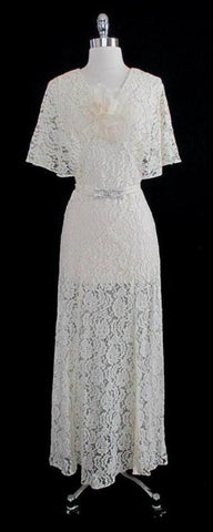 Vintage 30's Antique White Lace Wedding Special Occasion Gown Dress M