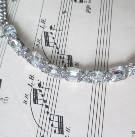 Vintage Emerald Cut Rhinestone Choker Necklace