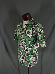 Vintage Green RJC Cotton Bark Cloth Classic Hibiscus Print Hawaiian Shirt - XL profile