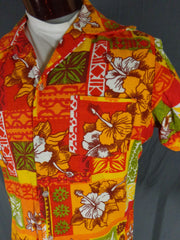 Vintage Unbranded Red Orange & White Cotton Bark Cloth Tribal Hibiscus Hawaiian Shirt - 44 pocket