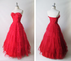• Vintage 50's Red Strapless Full Skirt Party Dress Gown XS - Bombshell Bettys Vintage