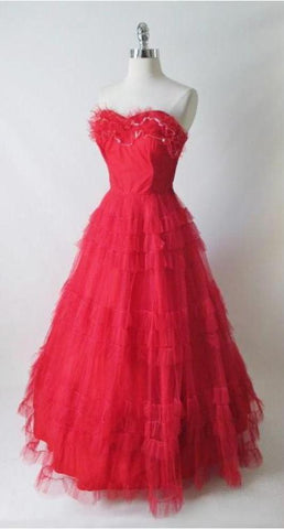 Lady in Red Vintage 50's Strapless Full Skirt Party Dress Gown XS