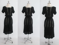 Vintage 40's Black Hand Crochet Knit Ribbon Dress S - Bombshell Bettys Vintage
