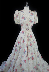 vintage 40's 1940's creme floral wedding evening gown detail