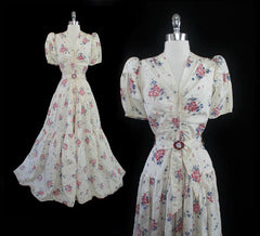 vintage 40's 1940's creme floral wedding evening gown gallery 2