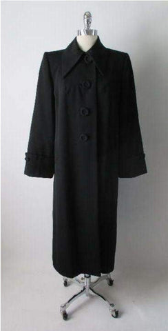 Vintage 40's Classic Black Rayon Full Length Jacket Swing Coat M / L