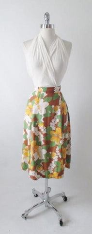 Vintage 40's Cold Rayon Hawaiian Skirt M