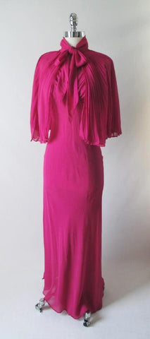 Vintage 40's Chiffon Evening Gown Matching Accordion Pleated Capelet S