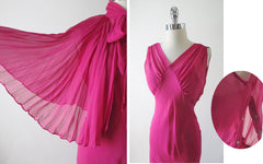 Vintage 40's Chiffon Evening Gown Matching Accordion Pleated Capelet S - Bombshell Bettys Vintage