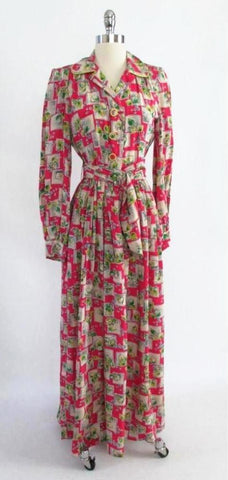 Vintage 1940's Novelty Print Rayon Robe Dressing Gown With Tags M