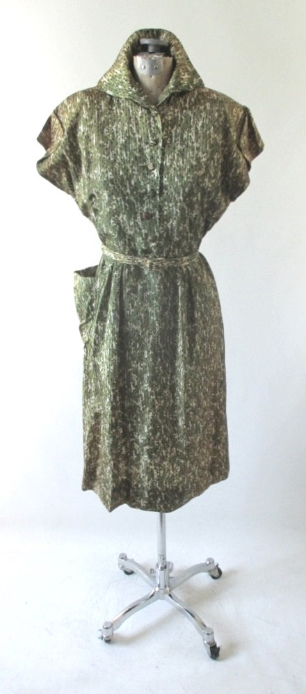 Vintage 40's Green Casual Day Dress M - Bombshell Bettys Vintage