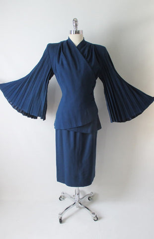 Vintage 40's Lilli Ann Royal Blue Accordion Bell Sleeves Wool Suit XS