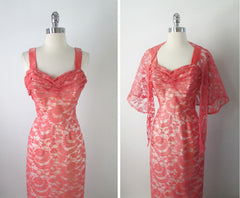 Vintage 40's Flamingo Pink Lace Bombshell Mermaid Hem Evening Party Dress Gown S - Bombshell Bettys Vintage