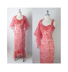 Vintage 50's Pink Lace Mermaid Hem Party Dress Matching Wrap Gown S - Bombshell Bettys Vintage