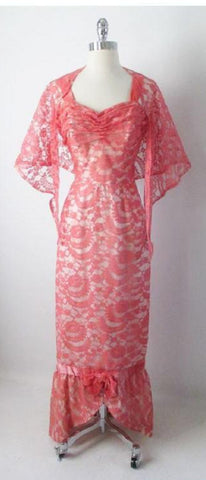 Vintage 50's Pink Lace Mermaid Hem Party Dress Matching Wrap Gown S