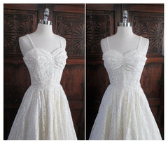 • Vintage 40's White Lace Full Skirt Halter Dress S - Bombshell Bettys Vintage
