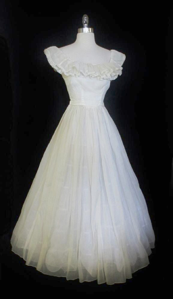 Vintage 40's Sheer White Organdy Full Skirt Evening Wedding Gown Party Dress S - Bombshell Bettys Vintage