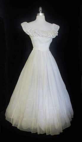 Vintage 40's Sheer White Organdy Full Skirt Evening Wedding Gown Party Dress S