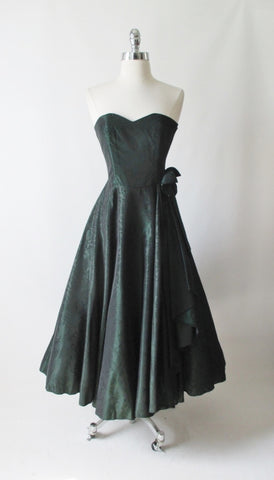 Vintage 90's Laura Ashley Strapless Green Floral Taffeta Party Dress Autumn/Winter 1990 XS