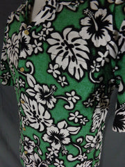 Vintage Green RJC Cotton Bark Cloth Classic Hibiscus Print Hawaiian Shirt - XL pocket