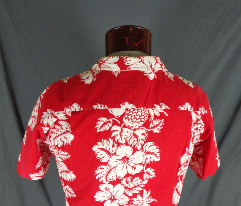 4e3f7f4e8 Vintage RJC Red 100% Cotton Classic Hibiscus Print Hawaiian Shirt - 47 rear  detail