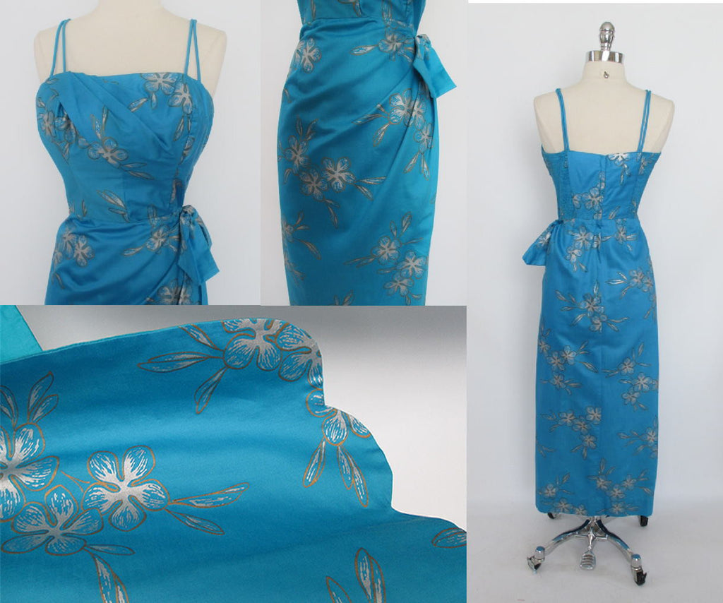 50\'s 60\'s True Vintage Blue Silver Hawaiian Sarong Dress Gown ...