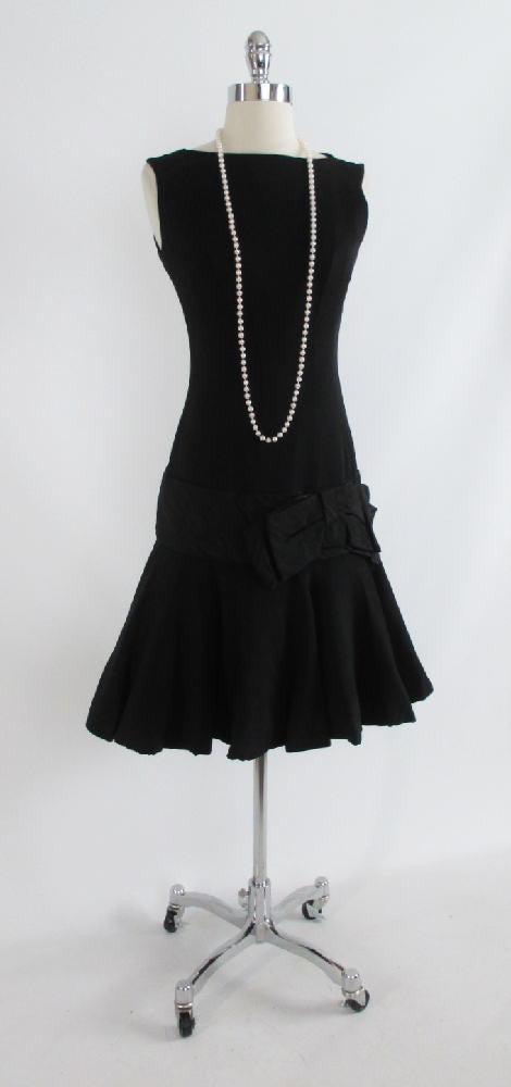 Vintage Black Dropped Waist Evening Cocktail Party Dress XS - Bombshell Bettys Vintage