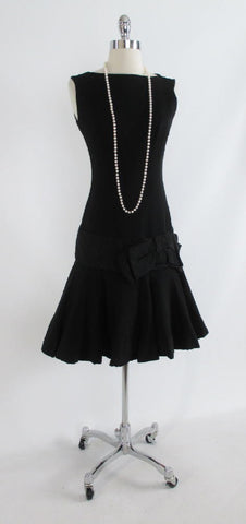 Vintage Black Dropped Waist Evening Cocktail Party Dress XS