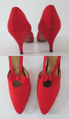 Vintage 50's 60's Red Heels Bow Accent Pumps Shoes 10 N - Bombshell Bettys Vintage