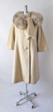 Vintage 50's Cream Ivory Fox Fur Lilli Ann Mohair Swing Coat Jacket