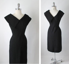 • Vintage 50's Black Kimberly Knits Big Collar Fitted Knit Wiggle Sweater Dress M - Bombshell Bettys Vintage