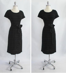 Vintage 50's Black Knit Ribbon Dress With Taffeta Rosette M - Bombshell Bettys Vintage