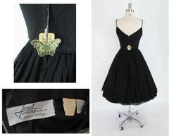 vintage 1950's 50's black silk chiffon party evening dress back