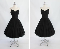 vintage 1950's 50's black silk chiffon party evening dress full