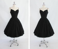 vintage 1950's 50's black silk chiffon party evening dress full 2
