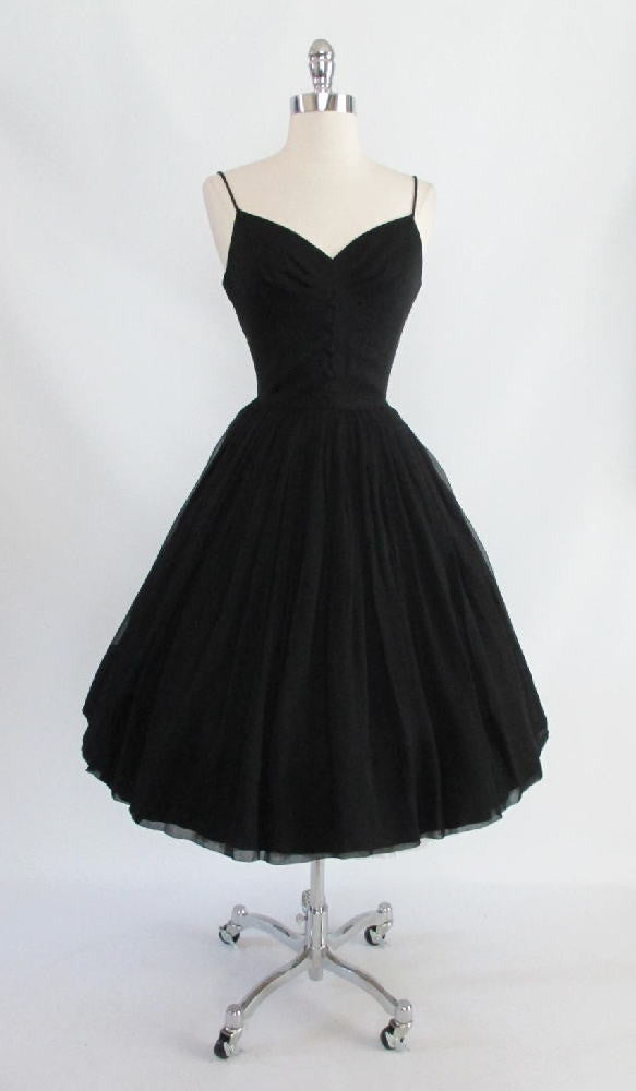 vintage 1950's 50's black silk chiffon party evening dress gallery