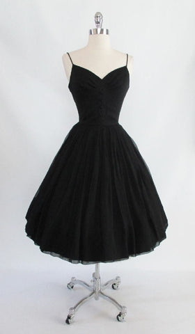 z Vintage 50's  / 60's Black Silk Chiffon Full Skirt Party Evening Cocktail Dress New Tags XS