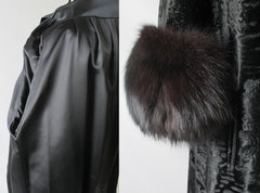 Vintage Black Velvet Fox Fur Evening Swing Coat details